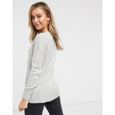 ニュールック レディース ニット&セーター アウター New Look Christmas sweater in gray Gray