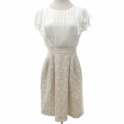 【中古】レッセパッセ ワンピース ドッキング フリル ブラウス マーガレット刺繍 スカート 2 Sサイズ 白 レディース