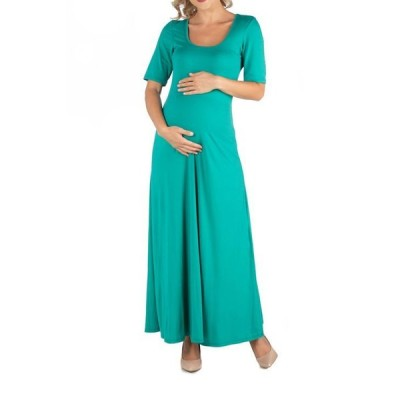 24セブンコンフォート レディース ワンピース トップス Casual Maternity Maxi Dress with Sleeves