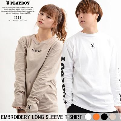 ロンt メンズ プレイボーイ PLAYBOY tシャツ 長袖 薄手 レディース 長袖tシャツ ビッグシルエットtシャツ カットソー トップス ゆったり 大きい 大きめ ビッグシルエット ペアルック