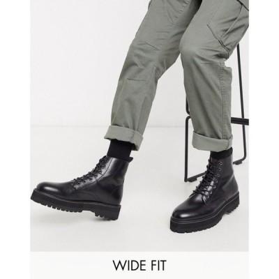 エイソス ASOS DESIGN メンズ ブーツ レースアップブーツ シューズ・靴 Wide Fit Vegan lace up boot in black faux leather with raised chunky sole ブラック