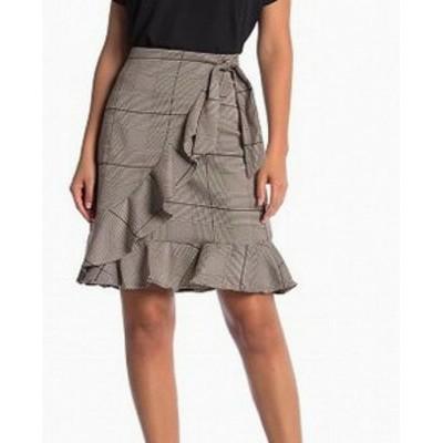 ECI ECI ファッション スカート ECI Womens Plaid Side-Tie Ruffled Brown Size 4 Straight Pencil Skirt