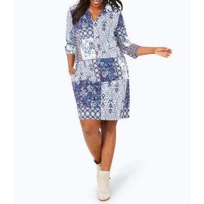 フォックスクラフト レディース ワンピース トップス Plus Size Esme All Mixed Up Printed Dress