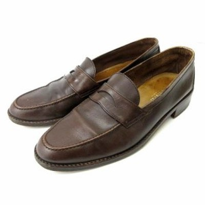 【中古】ロエベ LOEWE コインローファー レザースリッポン ビジネス フォーマル 革靴 茶 ブラウン 43 約27cm IBS91 メンズ