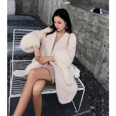 冬物 レディース オフィス OL 通勤 ロング丈コート おしゃれ 上着 ジャケット アウター 暖かい フェイクファー 女性 防寒 毛皮コート 上質 長袖コート 切り替え