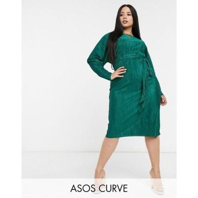 エイソス ASOS Curve レディース ワンピース ASOS DESIGN Curve exclusive plisse batwing wrap midi dress with self tie belt in green