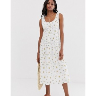 エイソス レディース ワンピース トップス ASOS DESIGN sleeveless lace insert midi dress with dropped waist in floral print Light b