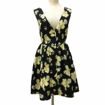 【中古】マーキュリーデュオ ワンピース フレア ミニ ノースリーブ 花柄 F 黒 黄 ブラック イエロー レディース
