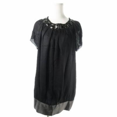 【中古】デプレ DES PRES トゥモローランド ワンピース ミニ 半袖 絹 シルク ストライプ ビジュー 1 黒 ブラック