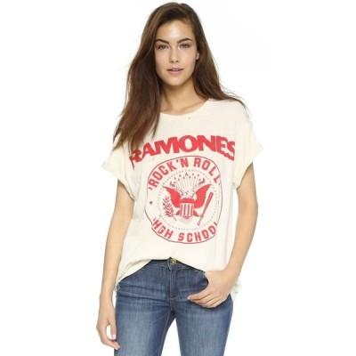 メイド ウォーン MADEWORN ROCK レディース Tシャツ トップス Ramones 1979 Rock Printed Tee Dirty White