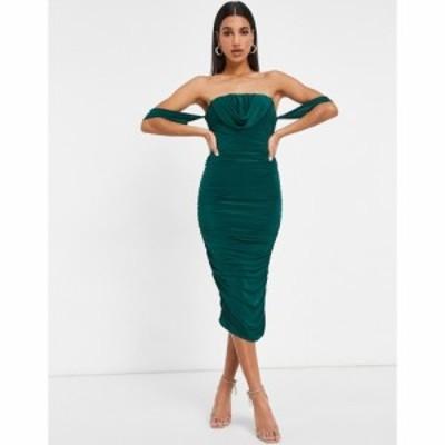 フェム リュクス Femme Luxe レディース ボディコンドレス ワンピース・ドレス Bodycon Dress With Drape Detail In Emerald Green エメ