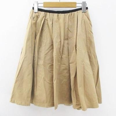 【中古】ロペ ROPE 膝丈 フレアスカート 36 ベージュ系 日本製 ポケット 綿 コットン 裏地 無地 レディース