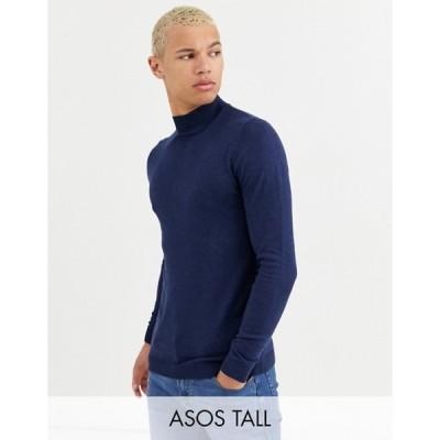 エイソス メンズ ニット・セーター アウター ASOS DESIGN Tall cotton turtleneck in navy