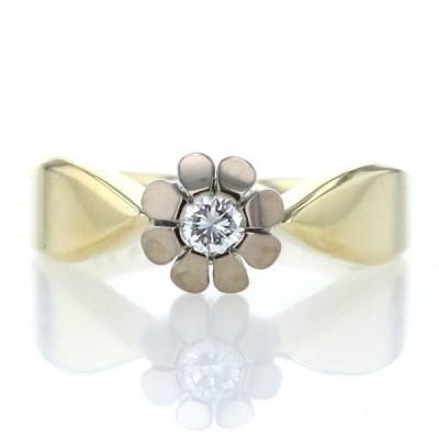 K14YG WG イエローゴールド ホワイトゴールド リング ダイヤモンド 一粒石 花 フラワー 植物 絞り 10号 指輪【新品仕上済】【pa】【中古】