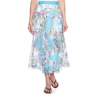 ルビーアールディー レディース スカート ボトムス Petite Size Patchwork Medallion Floral Print Georgette Lined Midi Skirt
