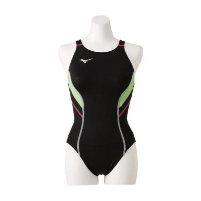 【在庫処分】【送料無料】ミズノ 競泳用ローカット(オープン)[レディース] ブラック×ライム Mizuno N2MA8240 80