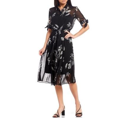カルバンクライン レディース ワンピース トップス Floral Chiffon Short Sleeve Tie Waist Midi Shirt Dress Black/Grey