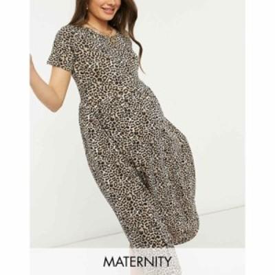 ウェンズデーガール Wednesdays Girl Maternity レディース ワンピース ミドル丈 ワンピース・ドレス midi smock dress in leopard print