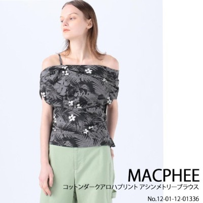 12-01-12-01336 MACPHEE コットンダークアロハプリントアシンメトリーブラウス 送料無料