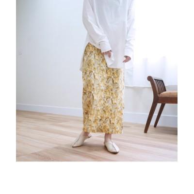 ニュアンス柄フロントボタンタイトスカート