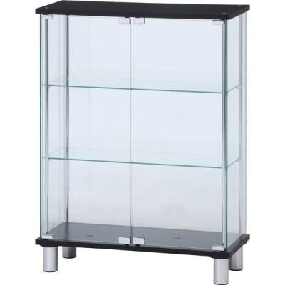 不二貿易不二貿易 ガラスディスプレイケース3段 ワイド 幅700×奥行280×高さ935mm ブラック 99486 1台(直送品)