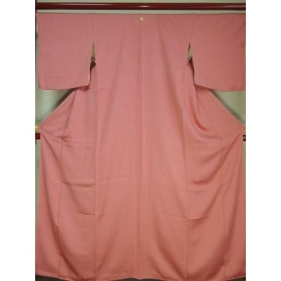 kf-041 染め抜き一つ紋入り 色無地「美品!身丈165cm 霞調の紋意匠正絹」着丈約165cm(肩より)、裄丈約65.5cm、袖丈約49cm、前幅約22.5cm、後幅約28cm