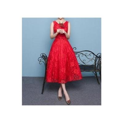 ドレス レース ノースリーブ エレガント 細見え 大人 結婚式 披露宴 プリンセス