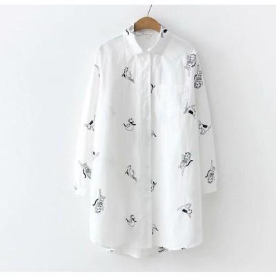 長袖ポロシャツ/ヨガ猫刺繍ロング丈シャツ上着トップス綿Tシャツエスニック風ナチュラル森ガール風カジュアル大人エレガント可愛いきれいめ二点送料無料
