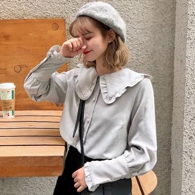 ディアハート DearHeart 襟付薄手コーデュロイシャツ (グレー)