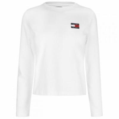 トミー ジーンズ Tommy Jeans レディース 長袖Tシャツ トップス Long Sleeve Badge T-Shirt CLASSIC WHITE