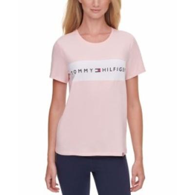 トミー ヒルフィガー レディース シャツ トップス  Colorblocked Logo T-Shirt Cloud Pink/ White