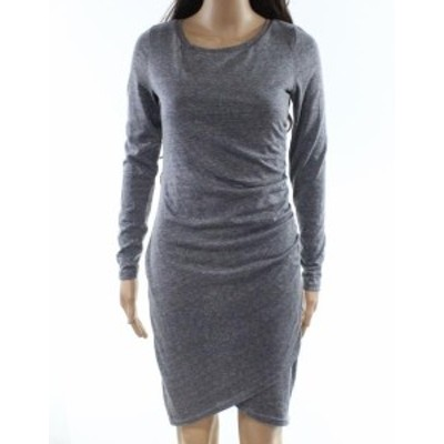 Leith ライス ファッション ドレス Leith NEW Gray Womens Size XS Ruched Scoop Neck Stretch Sheath Dress