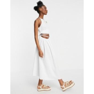 エイソス レディース ワンピース トップス ASOS DESIGN cotton poplin tie wrap midi sundress in white White