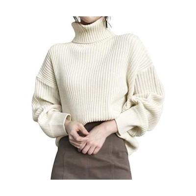Ladyangel セーター ニット ハイネック レディース 7色展開 タートルネック プルオーバー (オフホワイト Free Size)