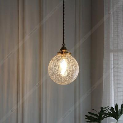 ペンダントライト ガラス 照明器具 LED おしゃれ レトロ 和風 レストラン キッチン 真鍮 寝室 廊下 居間用 ひびが入るガラス インテリア照明