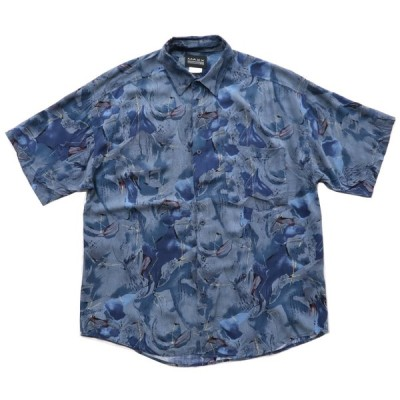 USA製 半袖シャツ 総柄 サイズ表記:L