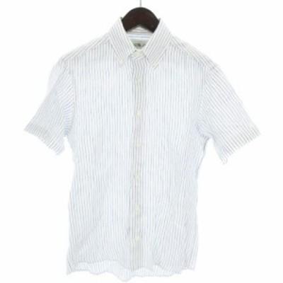 【中古】鎌倉シャツ シャツ 半袖 BD ボタンダウン ストライプ 麻 リネン 紺 白 ネイビー ホワイト S ■VP メンズ