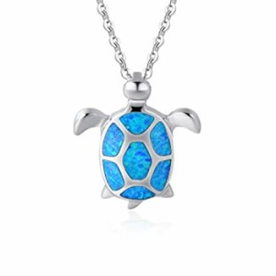"""FANCIME October Birthstone 925 Sterling Silver Sea Turtle Pendant Necklace Blue Created Opal Jewelry For Women Girls 16+2"""" Exten"""
