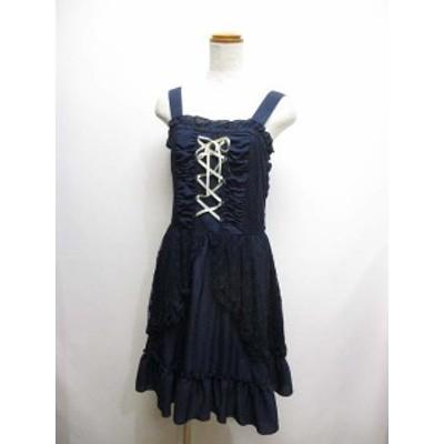【中古】アクシーズファム axes femme 美品 レースアップ キャミ ワンピース M 濃紺 ネイビー レース装飾 リボン
