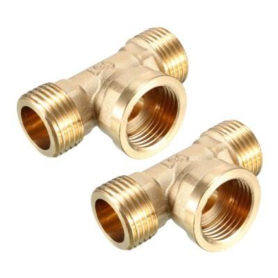 uxcell ティーパイプ継手 T型コネクタ ゴールドトーン ブラス 3ウェイ 1/2PT オスx1/2PTオスx1/2PTメス 2個入り