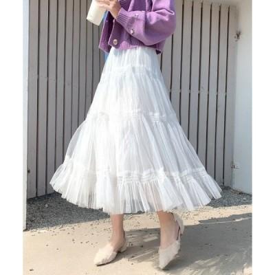 スカート チュールティアードスカート