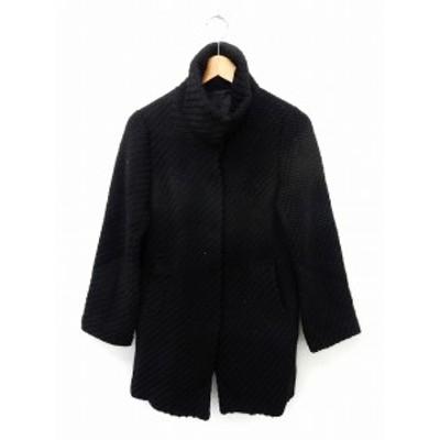 【中古】ミューニック Munich コート アウター スタンドカラーコート ウール ポケット シンプル S 黒 ブラック