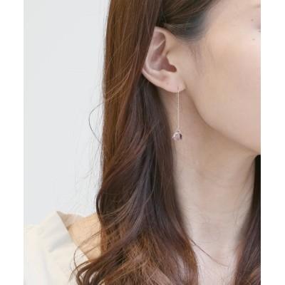 L&Co. / K10 トライアングル カラーストーン チェーンピアス WOMEN アクセサリー > ピアス(両耳用)