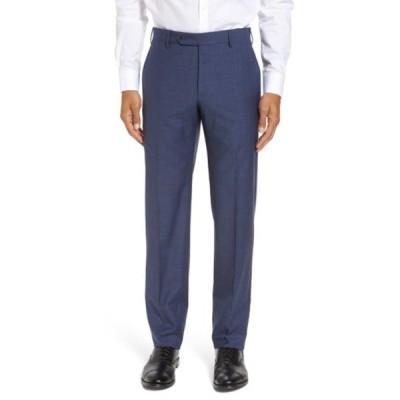 ザネッラ カジュアルパンツ ボトムス メンズ Parker Flat Front Classic Fit Sharkskin Wool Dress Pants Blue