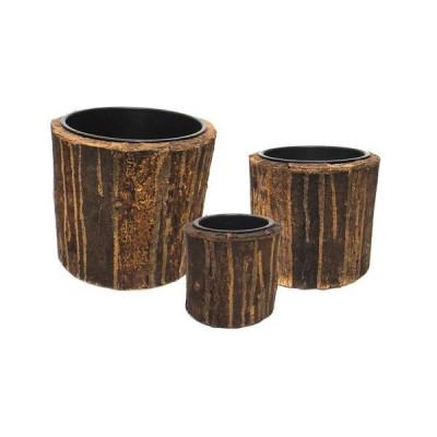 木製植木鉢カバー タック ラウンド ブラウン インナーポット付 3点セット L゛:外径45cm 高さ45cm