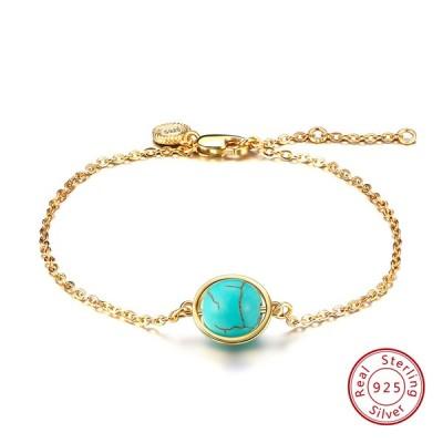 Rinntin 100%925スターリングシルバーレディースブレスレット&バングル4色ゴールドカラー天然石女性ファインパーティージ Turquoise