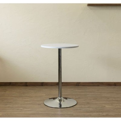 ラウンドバーテーブル/ハイテーブル 〔円形 直径55cm〕 ホワイト スチールフレーム 〔ディスプレイ家具 什器 インテリア〕〔代引不可〕