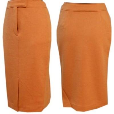 ジャージニット素材のセンタースリットスカート(オレンジ)サイズS・M・Lあり