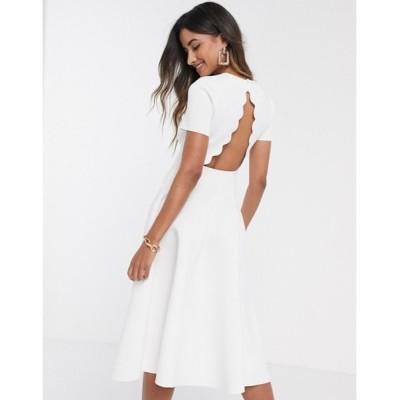 エイソス レディース ワンピース トップス ASOS DESIGN scallop tshirt midi skater dress in white
