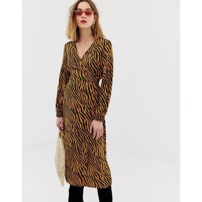 ピーシーズ レディース ワンピース トップス Pieces zebra print wrap midi dress Multi